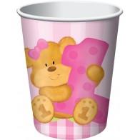 """Popieriniai puodeliai """"Mergaitės gimtadienis su meškiuku"""" (8 vnt./266 ml)"""