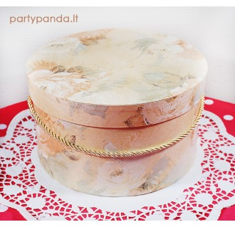 Cilindro formos dovanų-gėlių dėžutė persikų spalvos, didelė