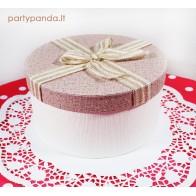 Cilindro formos dovanų-gėlių dėžutė rusvos spalvos su kaspinu, didelė