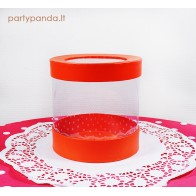 Cilindro formos dovanų-gėlių dėžutė su langeliu, raudona, didelė