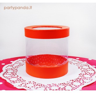 Cilindro formos dovanų-gėlių dėžutė su langeliu, raudona, vidutinė
