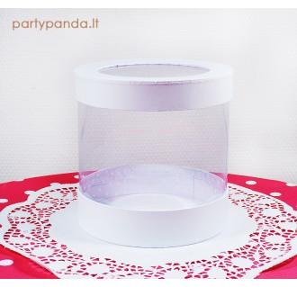Cilindro formos dovanų-gėlių dėžutė su langeliu, balta, didelė