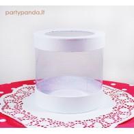 Cilindro formos dovanų-gėlių dėžutė su langeliu, balta, vidutinė