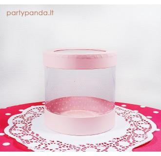 Cilindro formos dovanų-gėlių dėžutė su langeliu, rožinė, vidutinė