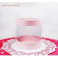 Cilindro formos dovanų-gėlių dėžutė su langeliu, rožinė, maža