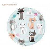"""Popierinės lėkštutės """"Katinukai"""", (8 vnt./17 cm)"""