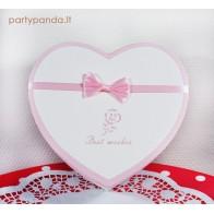Dovanų/gėlių dėžutė širdelė, balta, didelė