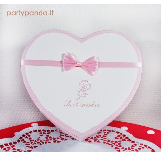 Dovanų/gėlių dėžutė širdelė, balta, vidutinė
