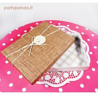 Stačiakampė dovanų dėžutė, rudos spalvos, didelė
