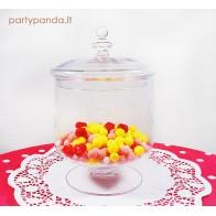 Dekoratyvus stiklinis indas saldžiam stalui