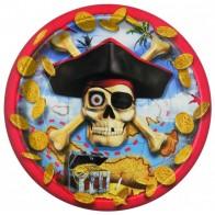 """Popierinės lėkštutės """"Piratai"""" (8 vnt./18 cm)"""