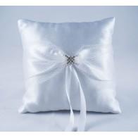 Balto satino vestuvinė pagalvėlė žiedams